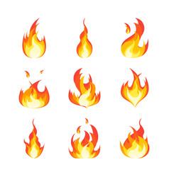 cartoon fire flames set vector image vector image