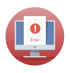 error icon on the monitor screen flat vector image vector image