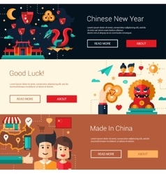 Flat design China banners set with icons famous vector image vector image