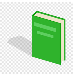 Green closed book isometric icon vector