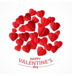 Red heart cut from paper vector image