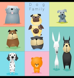 Set of dog family 3 vector image