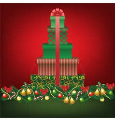 stack of gifts shapped tree vector image vector image
