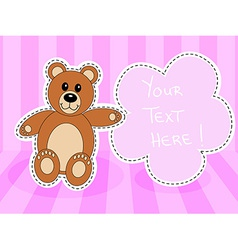 Teddy bearwith blank sign in pink room vector image vector image