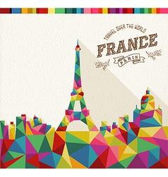 Travel France polygonal skyline vector image vector image
