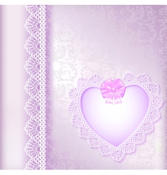 background with a satin bow and a heart vector image