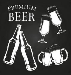 beer glasses bottles and mugs on chalkboard vector image vector image