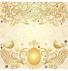 Gold easter frame vector image
