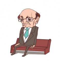 grandpa sitting on a bench vector image