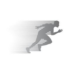 silhouette of jogger on finish athletic running vector image vector image