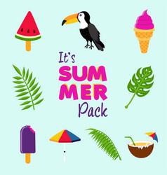 tropical summer beach decoration icon set vector image vector image