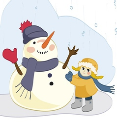 Girl and Snowman vector image