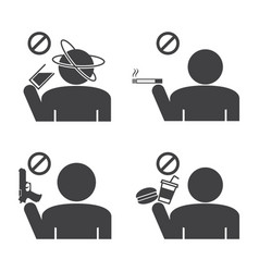 prohibited icons do not drink smokeing and food vector image