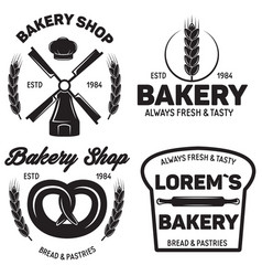 set of bakery badges with pastry icons and design vector image