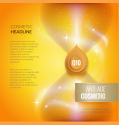 skin care anti-age cosmetic template golden poster vector image vector image