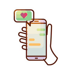 Smartphone icon with love message in hand vector