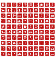 100 home icons set grunge red vector