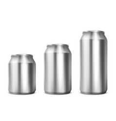 Aluminium cans different sizes for soda or beer vector