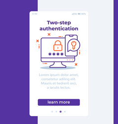 Authentication in two steps banner with line icon vector