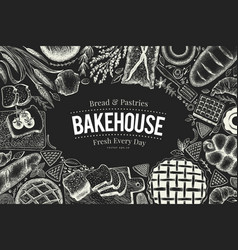 bakery top view frame on chalk board hand drawn vector image