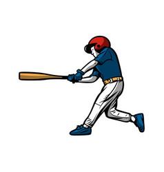 baseball kids player hit ball color vector image
