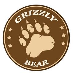 Bear paw print brown circle label design vector
