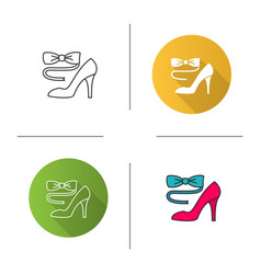 Bow tie and high heel shoe icon vector