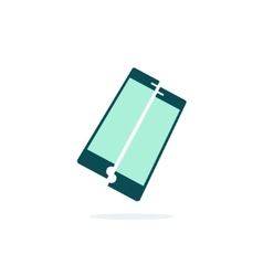 Broken mobile phone icon crushed vector image