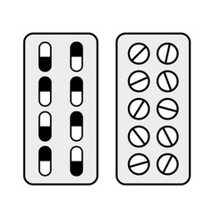 capsules and pills in blisters vector image