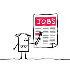 Cartoon woman looking for a job vector