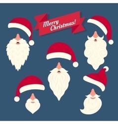 christmas clothes collection santas hats vector image