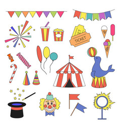 circus icon set with equipment vector image