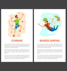 Climbing and bungee jumping poster with text vector