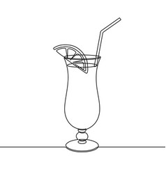cocktail drink continuous one line drawing black vector image