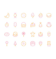colored dessert icons birthday sweets cakes candy vector image