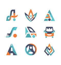 colorful flat design transport logo vector image