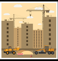 Construction site with equipment vector