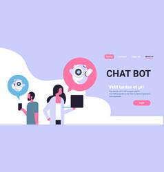 couple man woman chatbot robot communication vector image