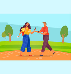 couple walking in summer at park with smartphones vector image