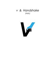 creative v- letter icon abstract logo design vector image