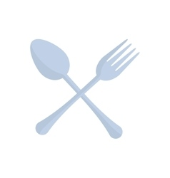 Crossed spoon and fork utensil kitchen vector