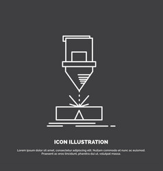 cutting engineering fabrication laser steel icon vector image