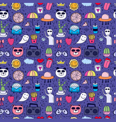 doodle cartoon seamless pattern background vector image