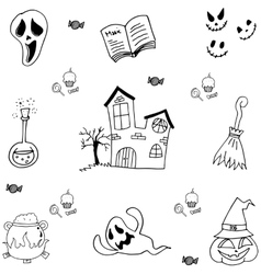 Doodle of castle halloween and element vector