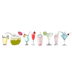 engraved style alcohol cocktails and drinks vector image