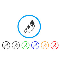 ethereum growth chart rounded icon vector image