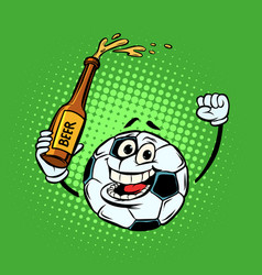 fans with a bottle of beer football soccer ball vector image