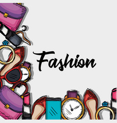 female fashion accesories icons vector image