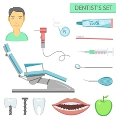 Flat color teeth care concept square compositionof vector