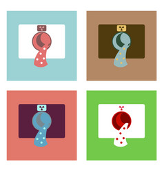 Flat icon design collection nuclear waste vector